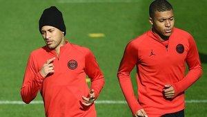 Mbappé y Neymar, juntos en un entrenamiento