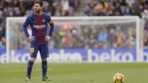 Messi durante el encuentro entre Barcelona y Celta de Vigo