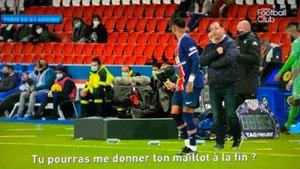 Momento en el que Moulin le pide la camiseta a Neymar