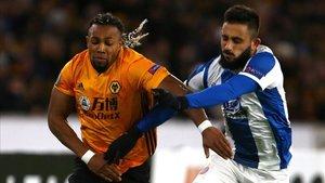 Adama y Vargas, en el Wolverhampton-Espanyol de esta temporada