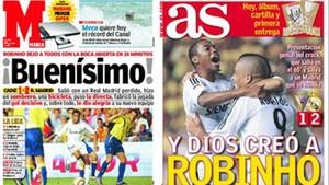 Algunos medios no ahorraron calificativos para loar a Robinho