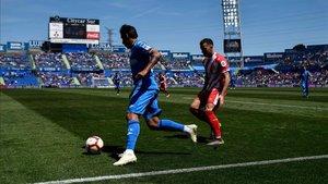 Borja en una acción durante el partido ante el Getafe