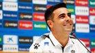 David Gallego, sonriente en la rueda de prensa previa al duelo contra el Zorya.