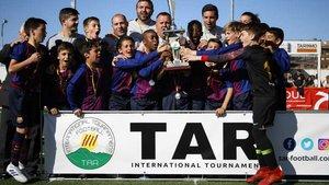 El equipo alevín azulgrana, último ganador del torneo TAR