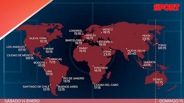 Los horarios del FC Barcelona - UD Las Palmas en todo el mundo