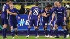 Los jugadores del Anderlecht celebran un gol ante el Fenerbahçe