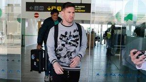 Messi a su llegada a Barcelona