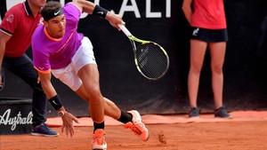 Rafa Nadal durante su partido de cuartos frente a Dominic Thiem