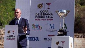 Rubiales en la presentación de la Copa del Rey de fútbol sala
