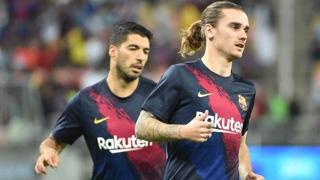 Suárez, Griezmann, Oblak, Bartra y Suso en campaña LaLiga que celebra vuelta