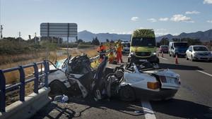 Accidente de tráfico en la AP-7 a su paso por Amposta.