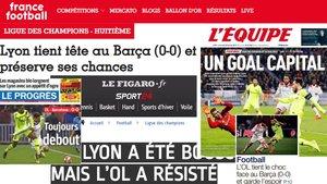 Algunas portadas de la prensa francesa sobre el Olympique Lyon-FC Barcelona