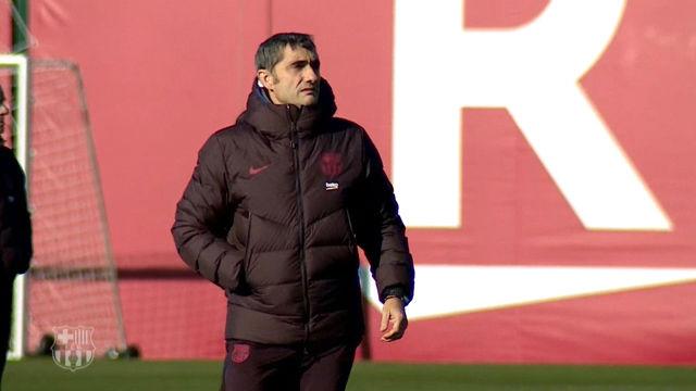 Así fue el (posible) último entrenamiento de Valverde con el Barça