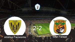 El Atlético Tacoronte y el Gran Tarajal consiguen un punto tras empatar a dos