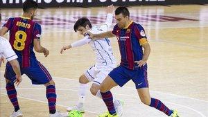 El Barça en un encuentro de la Liga Nacional de Fútbol Sala