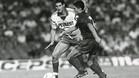Ernesto Valverde, en una acción del Barça-Sochaux (1-2), semifinal del Gamper de 1989