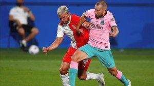 Gallar participó en el amistoso ante el Barça en el Johan Cruyff