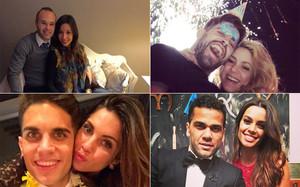 Iniesta, Piqué, Bartra y Alves empezaron el año con sus parejas