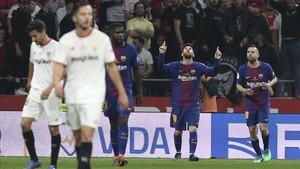 Messi celebra un gol en la final de la Copa del Rey