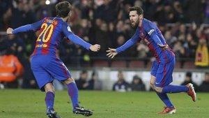Messi firmó el tercer gol azulgrana en la última remontada tras un 2-1 en partido copero