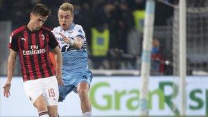 Patric, en un partido ante el Milan