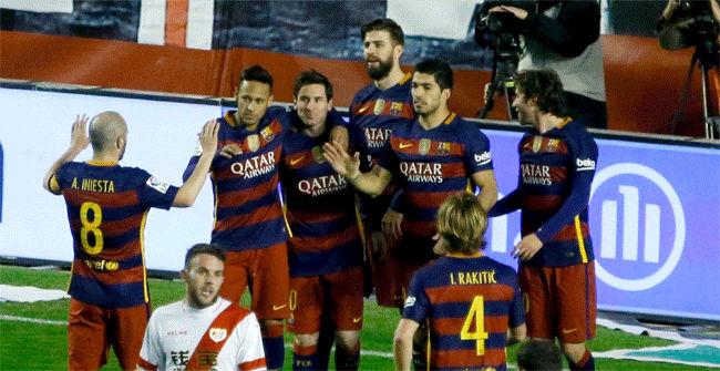 Rayo, 1 - Barça, 5