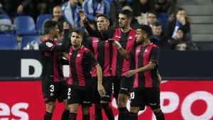 El Reus celebra un gol contra el Málaga