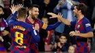Sergi Roberto celebra uno de los goles de Leo Messi ante el Celta