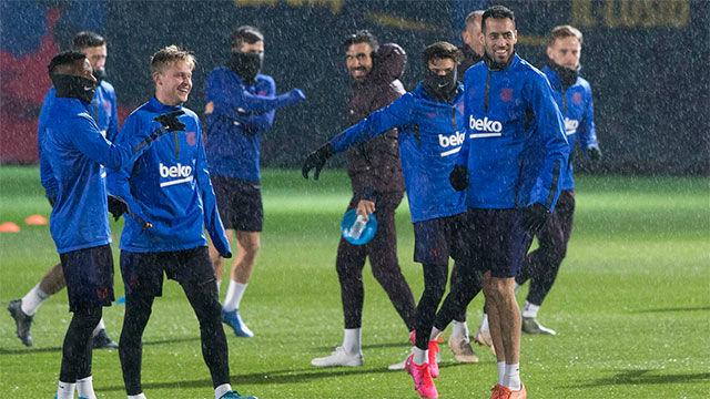 Último entrenamiento del Barça antes del encuentro en Ibiza