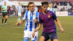 Una acción del Barça-Real Sociedad de este viernes en Sant Pol