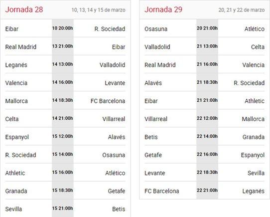 Calendario de las Jornadas 28ª y 29ª de la Liga Santander 2019/20