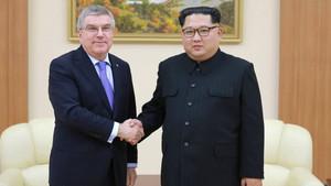 Bach y Kim Jong-un, en su encuentro de este sábado
