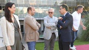 Bartomeu con Vilajoana y Elías, directivos del fútbol base del Barça