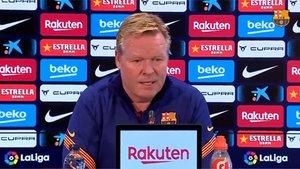 El entrenador del FC Barcelona Ronald Koeman durante una rueda de prensa