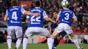 Este disparo de Coutinho significó el gol del Barça