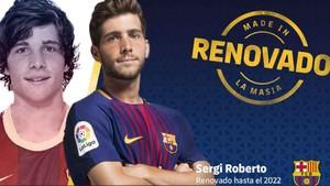 La imagen con la que el FC Barcelona anunció la renovación del contrato de Sergi Roberto