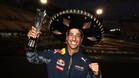 Ricciardo, celebrando el podio de noche