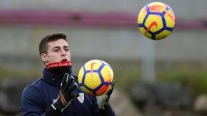 Kepa Arrizabalaga, durante un entrenamiento del Athletic Club