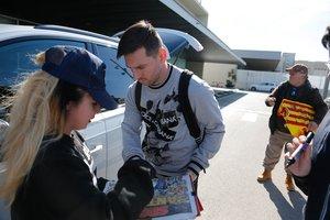 Leo Messi, a su llegada al aeropuerto de Barcelona.