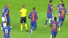 Los compañeros tuvieron que retener a Messi y Sobrino