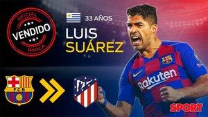 Luis Suárez ya ha sido traspasado por el FC Barcelona al Atlético de Madrid