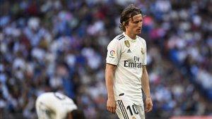Luka Modric en el último partido de Liga ante el Celta de Vigo