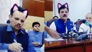 Ministro de Pakistán retransmite con el filtro de gato de Facebook