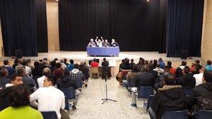 Momento de la conferencia sobre fútbol de Brians 2 a la que asistió Rosell
