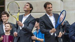 Nadal y Federer, durante la presentación del torneo
