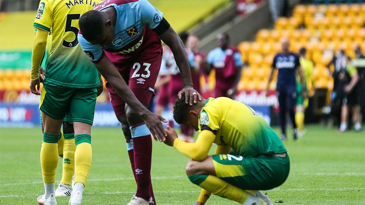 El Norwich City desciende a la Championship tras caer ente el West Ham (0-4)