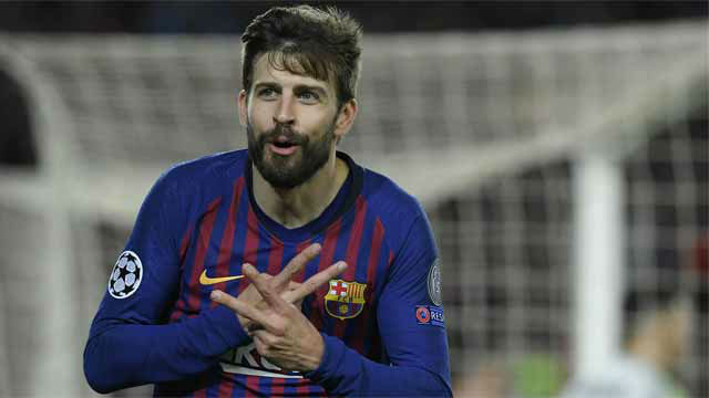 Piqué se sumó a la fiesta con el cuarto gol al Lyon
