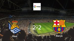 Real Sociedad and Barcelona ended the game with a 2-2 draw at Reale Arena