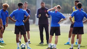 Valdés en la sesión matinal de este martes con el Juvenil A