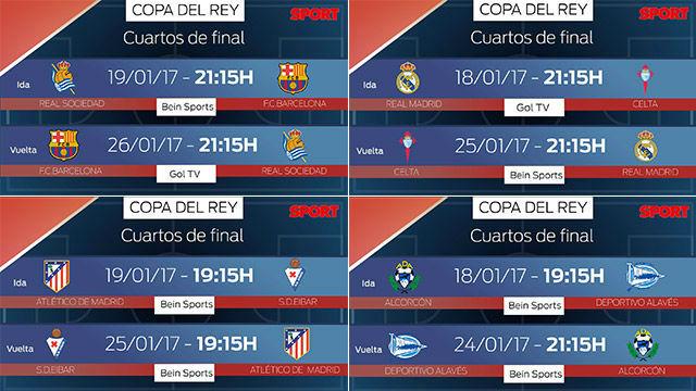 Sorteo Copa del Rey: Los horarios de los cuartos de final